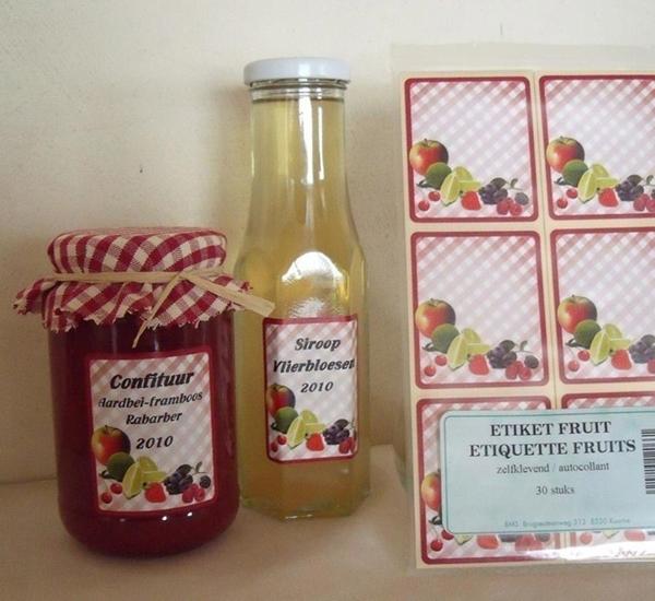 Etiketten fruitmotief zelfklevend 500st