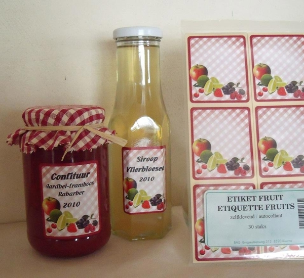 Etiketten fruitmotief zelfklevend 30st