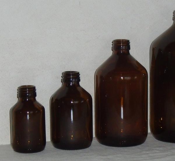 Fles 100ml bruin glas (diam.28mm)