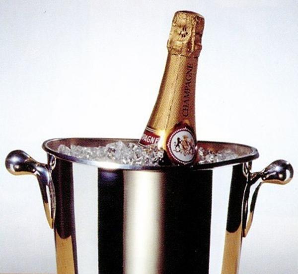 Champagnekoeler verzilverd /olijfgreep