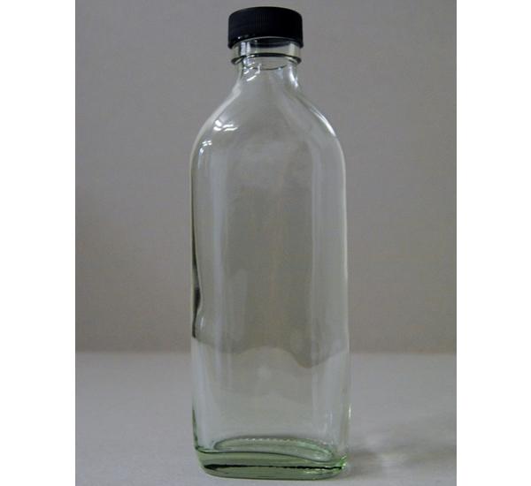 Siroopfles 200ml wit glas met zwarte dop