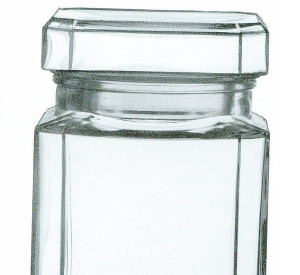 Huishoudbokaal met glazen deksel vierkant 1l