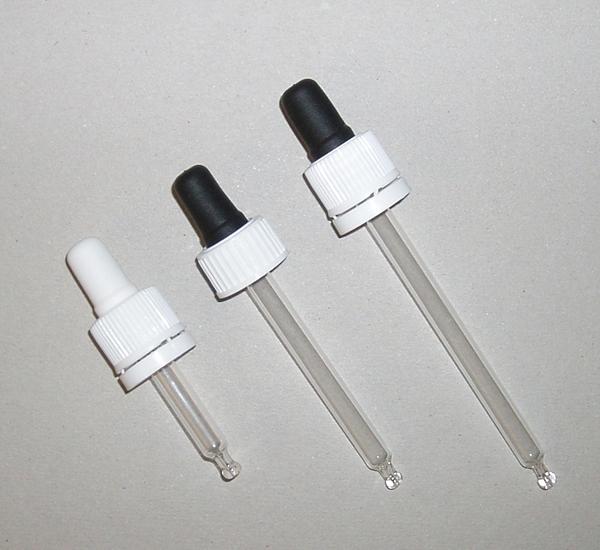 Glazen pipet druppelteller voor fles 50ml 16mm L90