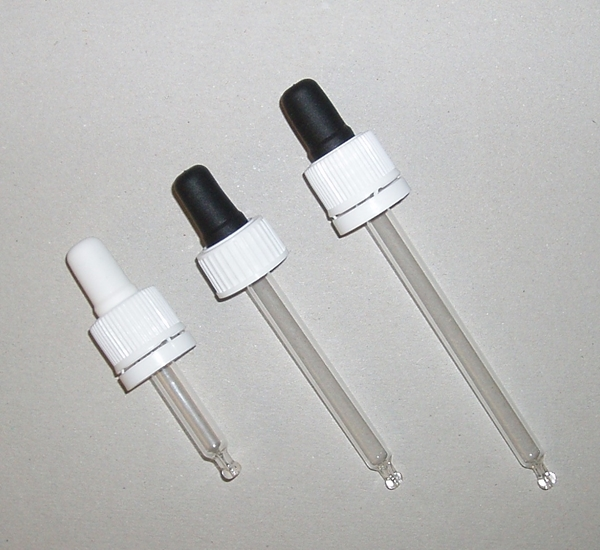 Glazen pipet druppelteller voor fles 20ml 16mm L74