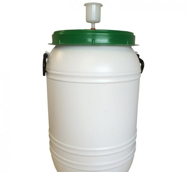 Kunststofvat 60L wit-groen waterslot
