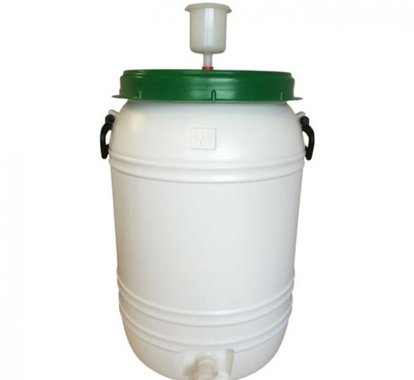 Kunststofvat 60L wit-groen waterslot en kraan
