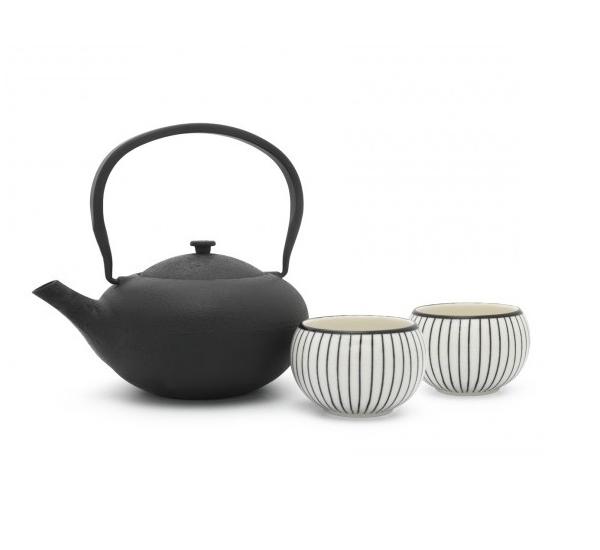 Giftset Shanxi zwart met 2 tassen in porcelein