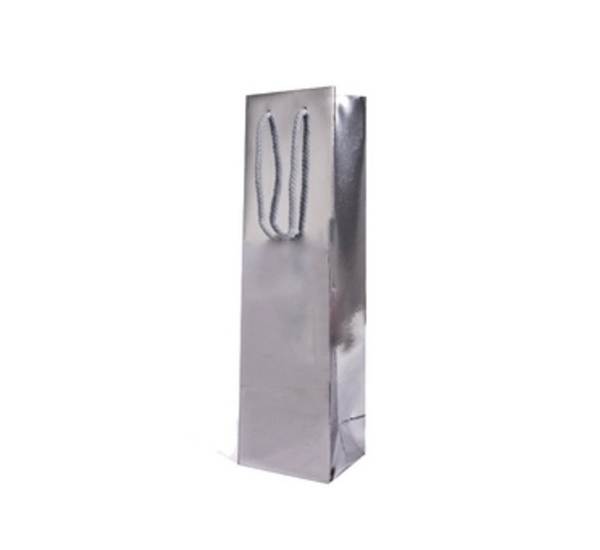 Geschenkverpakking draagzakje zilver glans 1 fles