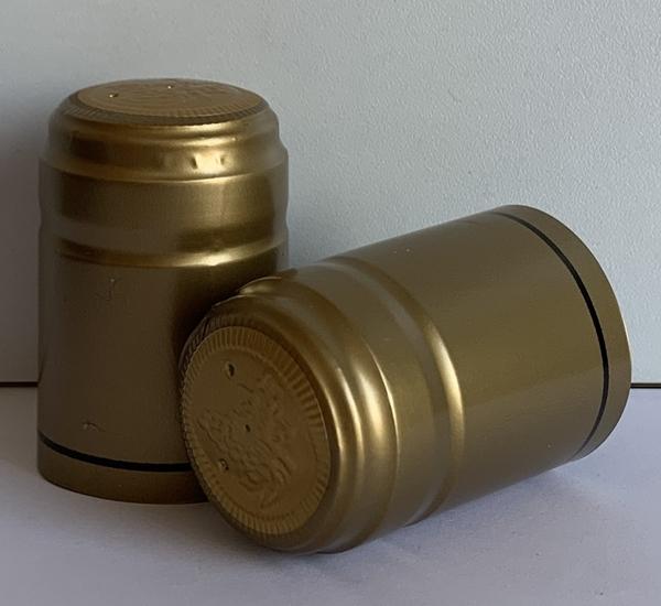 Krimpcapsules goud met zwarte bies 100st