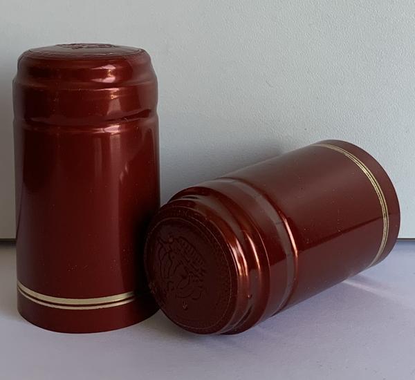 Krimpcapsules rood blinkend met gouden bies 100st