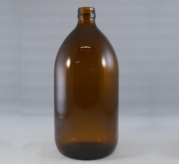 Fles 1L bruin glas zonder dop (28mm)