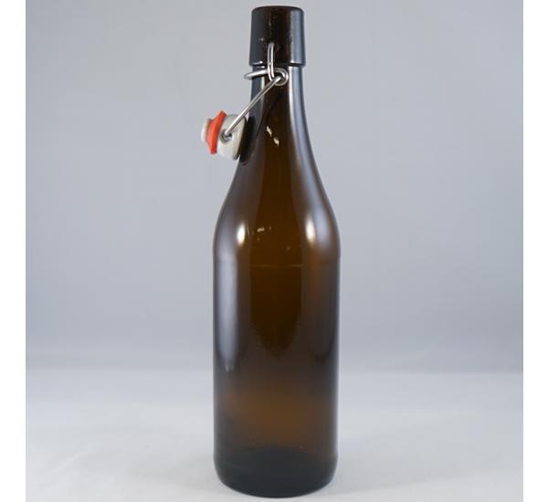 Bierfles bruin 0,5L met porceleinen beugel