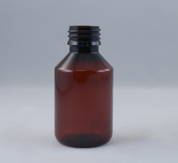 Fles pet bruin 100ml zonder dop (28mm)