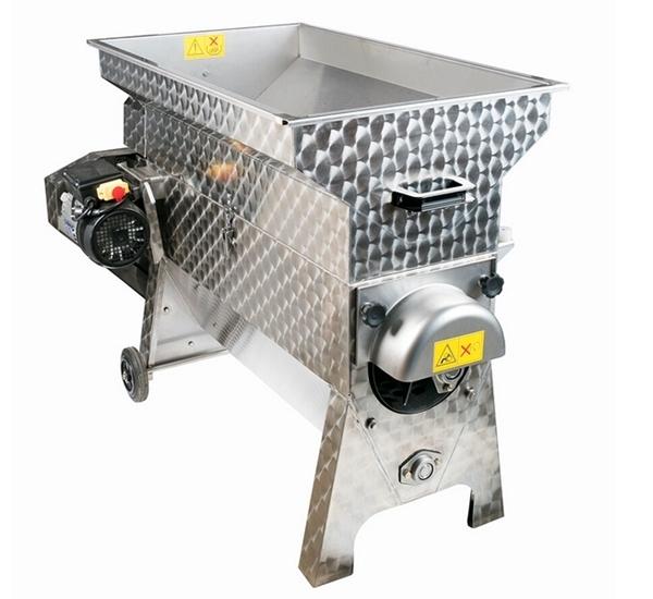 Druivenkneuzer en ontsteler electrisch inox 2.000kg/u