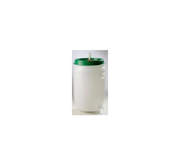 Kunststofvat 120L wit-groen waterslot en kraan
