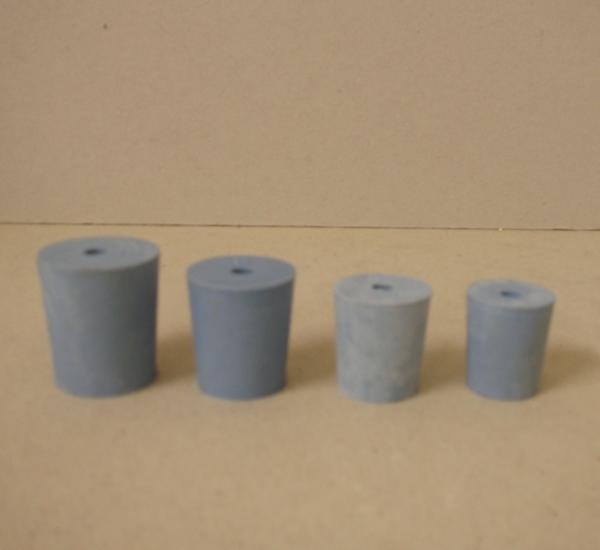 Bouchon plein gris avec trou nr 6  22 x 26 x 30mm