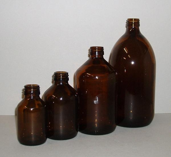 Fles pet bruin 1L zonder dop (28mm)