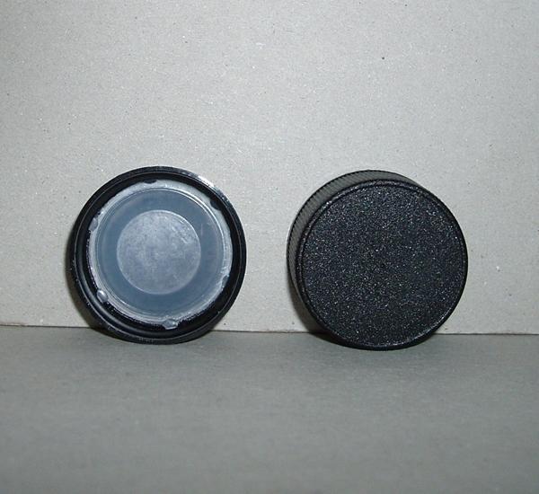 Bouchon noir (28mm)avec pvc blanc