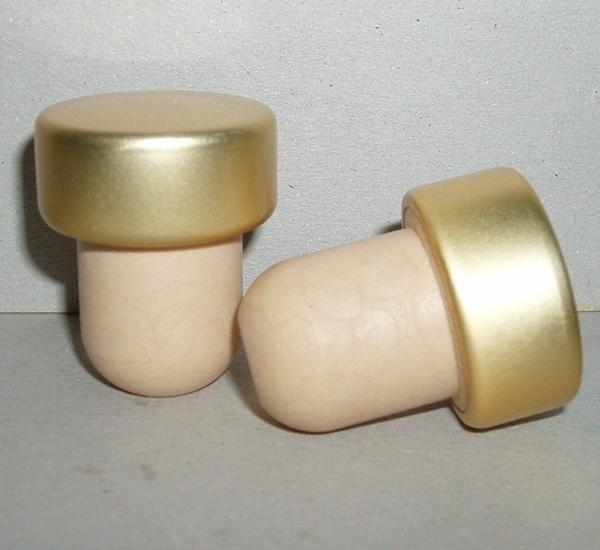 Portostop synthetisch gouden dop 10st