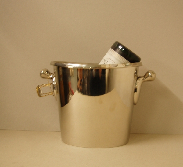 Champagnekoeler (18/10) en koper 1/2 fles