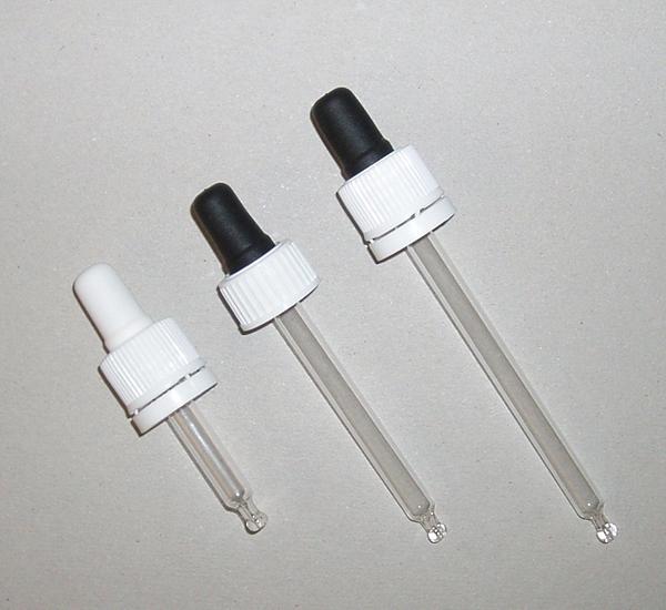 Glazen pipet druppelteller voor fles 30ml 16mm L81