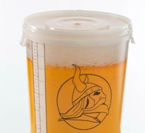 Brouw emmer met deksel 30L gegradueerd met kraan bier