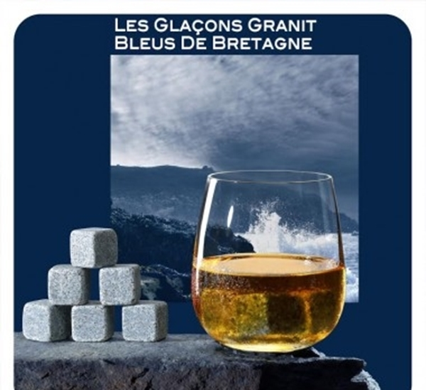 Whiskystenen blauw graniet uit Bretagne 6st