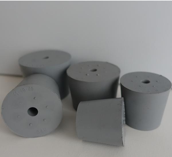 Bouchon plein gris avec trou 9mm 21/27 H30