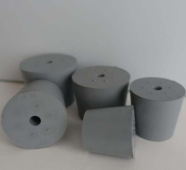 Bouchon plein gris met gat 14/18 H20