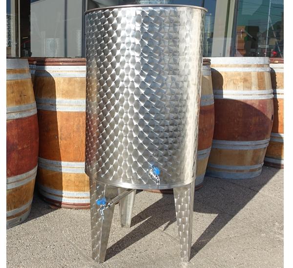 Fût avec couvercle flottant et fond conique 500 litres inox