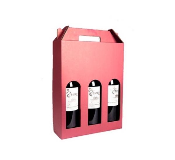 Geschenkverpakking draagkarton 3 flessen bordeaux