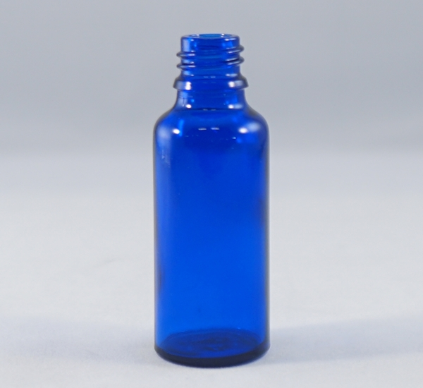 Fles 30ml blauw glas zonder dop (16mm)