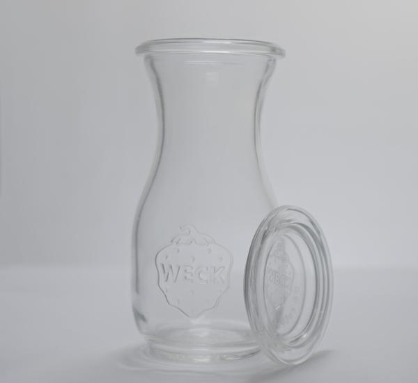Weck carafes à jus 0,25 litre+anneaux+ clips 4p. (763)