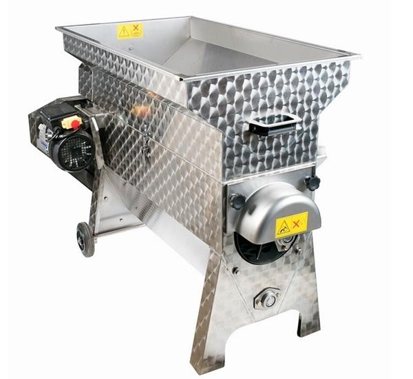 Druivenkneuzer en ontsteler electrisch inox 3.000kg/u